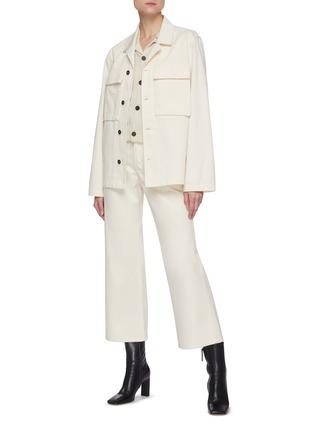 Figure View - Click To Enlarge - JIL SANDER - Patch pocket herringbone raw cotton jacket
