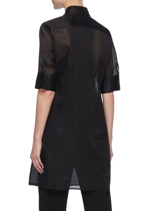 Back View - Click To Enlarge - JIL SANDER - Sheer elongated shirt