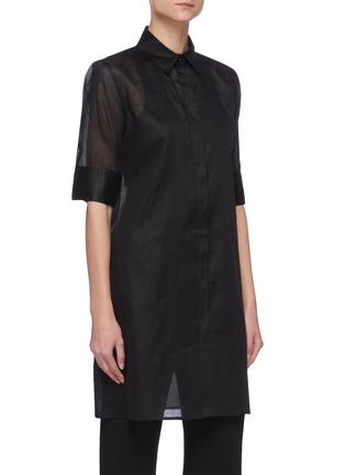 Front View - Click To Enlarge - JIL SANDER - Sheer elongated shirt