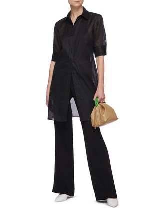 Figure View - Click To Enlarge - JIL SANDER - Sheer elongated shirt