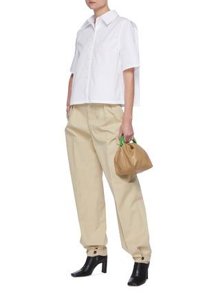 Figure View - Click To Enlarge - JIL SANDER - Cropped poplin shirt