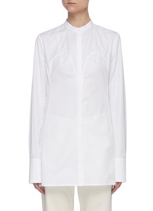 Main View - Click To Enlarge - JIL SANDER - Bustier seam mandarin collar shirt