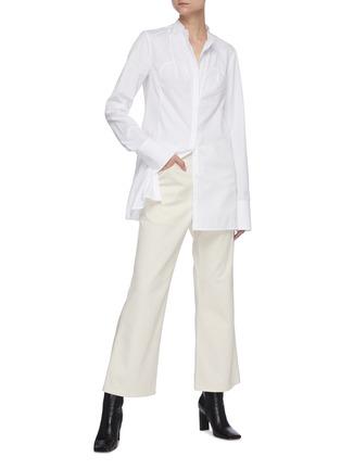Figure View - Click To Enlarge - JIL SANDER - Bustier seam mandarin collar shirt