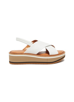 Main View - Click To Enlarge - CLERGERIE - Freedom' Cross Strap Elastic Slingback Platform Leather Sandals