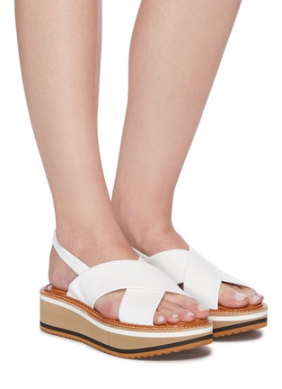 Figure View - Click To Enlarge - CLERGERIE - Freedom' Cross Strap Elastic Slingback Platform Leather Sandals