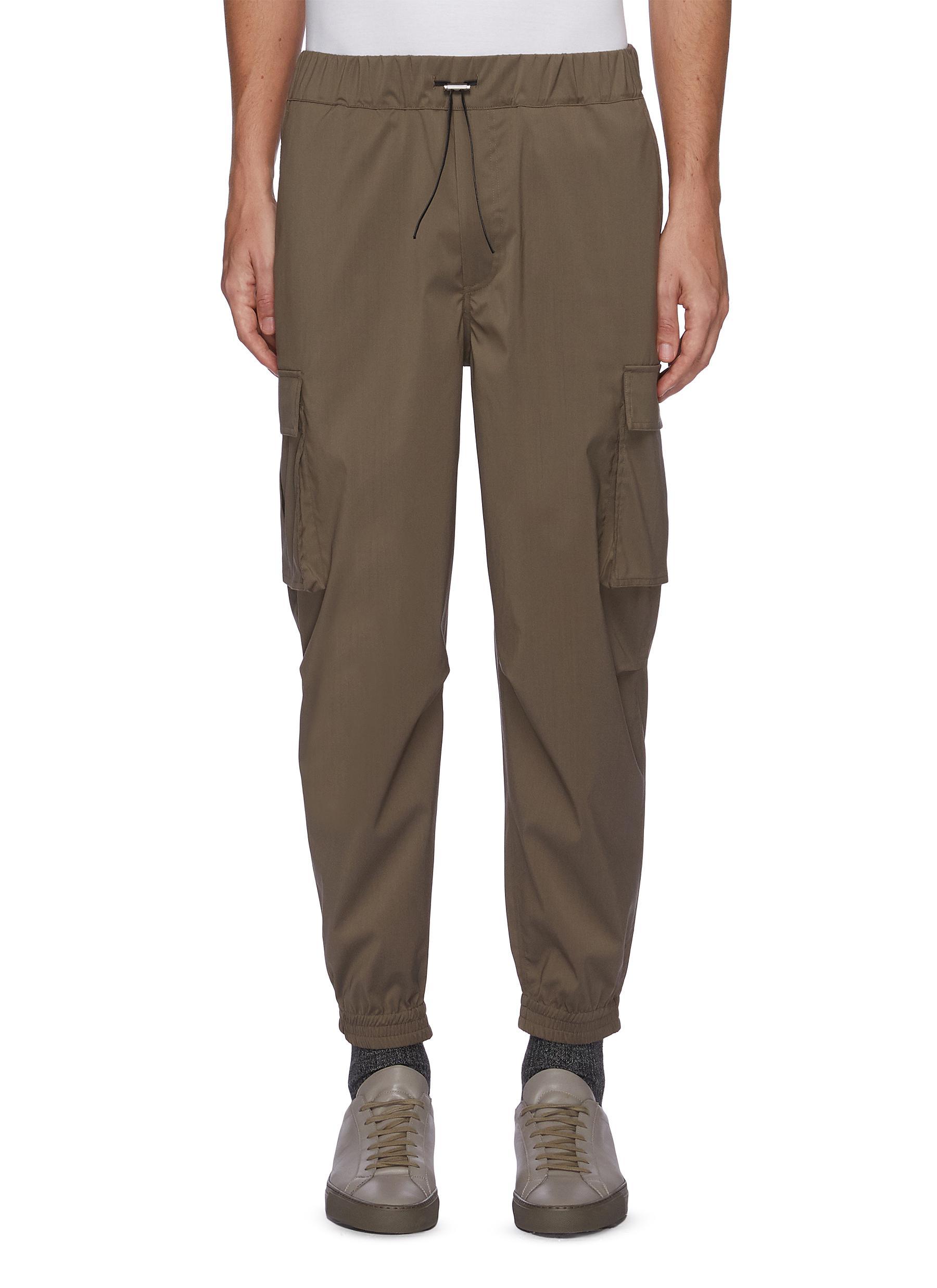 Drawcord Waist Cargo Pocket Crop Sweatpants