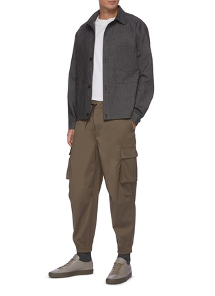Figure View - Click To Enlarge - EQUIL - Drawcord Waist Cargo Pocket Crop Sweatpants