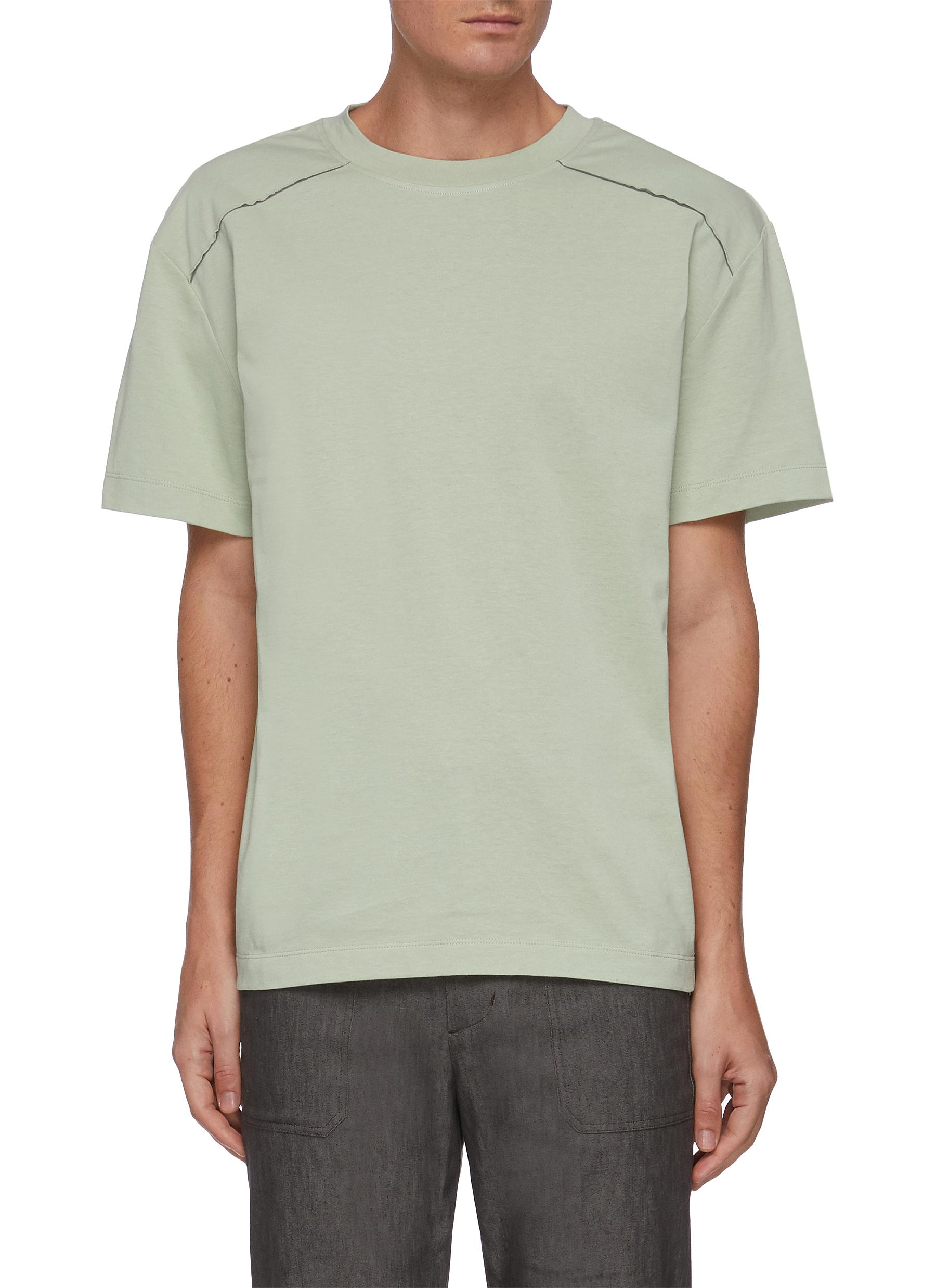 Box cut raw edge T-shirt