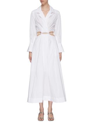Main View - Click To Enlarge - JONATHAN SIMKHAI - Alex' Cut Out Waist Midi Shirt Dress