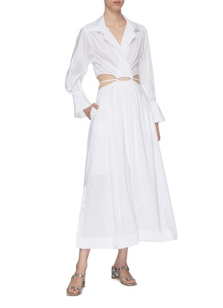 Figure View - Click To Enlarge - JONATHAN SIMKHAI - Alex' Cut Out Waist Midi Shirt Dress