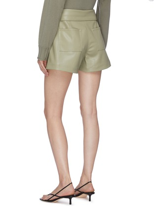 Back View - Click To Enlarge - JONATHAN SIMKHAI - 'Mari' Tie Waist Vegan Leather Shorts