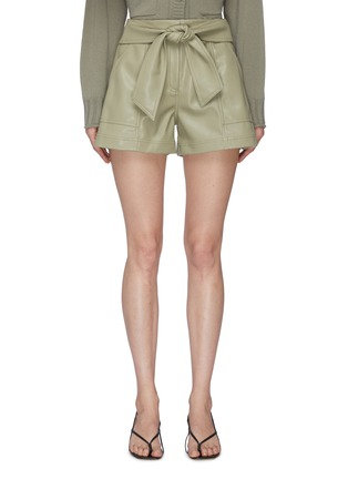 Main View - Click To Enlarge - JONATHAN SIMKHAI - 'Mari' Tie Waist Vegan Leather Shorts