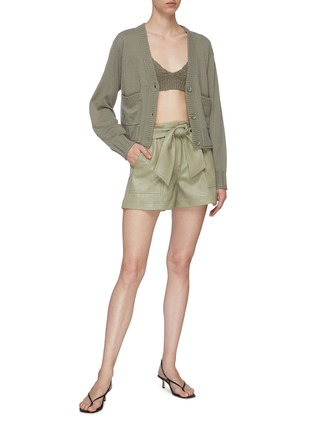 Figure View - Click To Enlarge - JONATHAN SIMKHAI - 'Mari' Tie Waist Vegan Leather Shorts