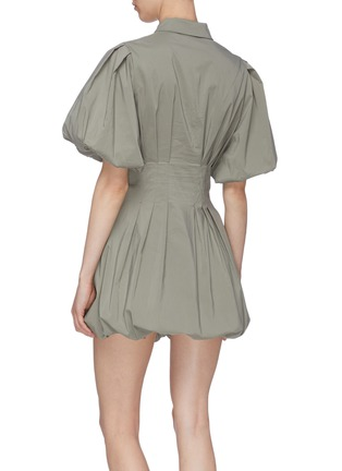 Back View - Click To Enlarge - JONATHAN SIMKHAI - 'Cleo' Pleat Poplin Balloon Mini Dress