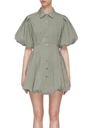 Main View - Click To Enlarge - JONATHAN SIMKHAI - 'Cleo' Pleat Poplin Balloon Mini Dress