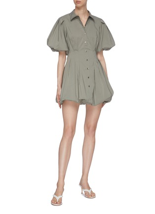Figure View - Click To Enlarge - JONATHAN SIMKHAI - 'Cleo' Pleat Poplin Balloon Mini Dress