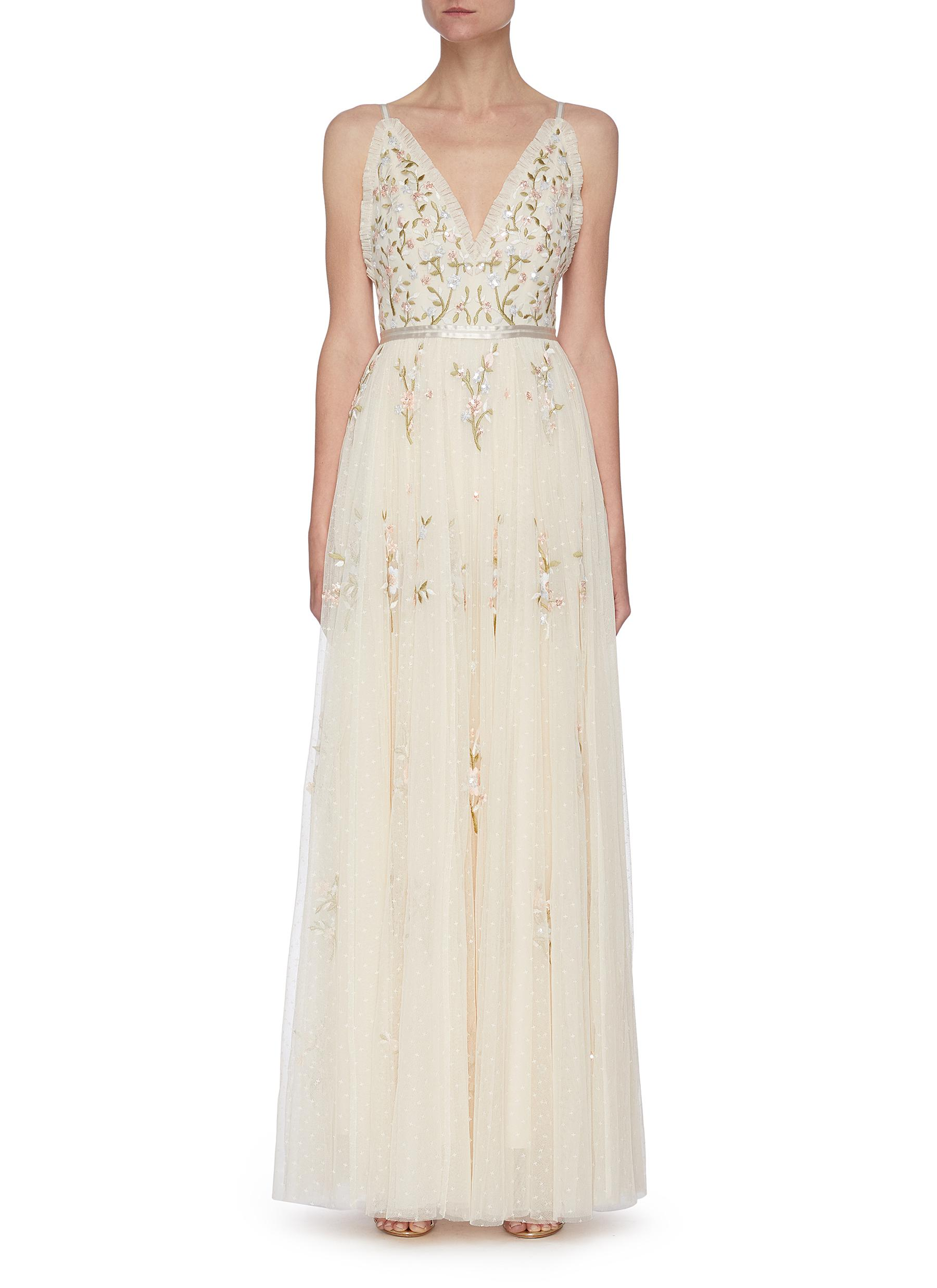 Needle & Thread Gowns 'PETUNIA' PLEATED TRIM FLORAL EMBROIDERED GOWN