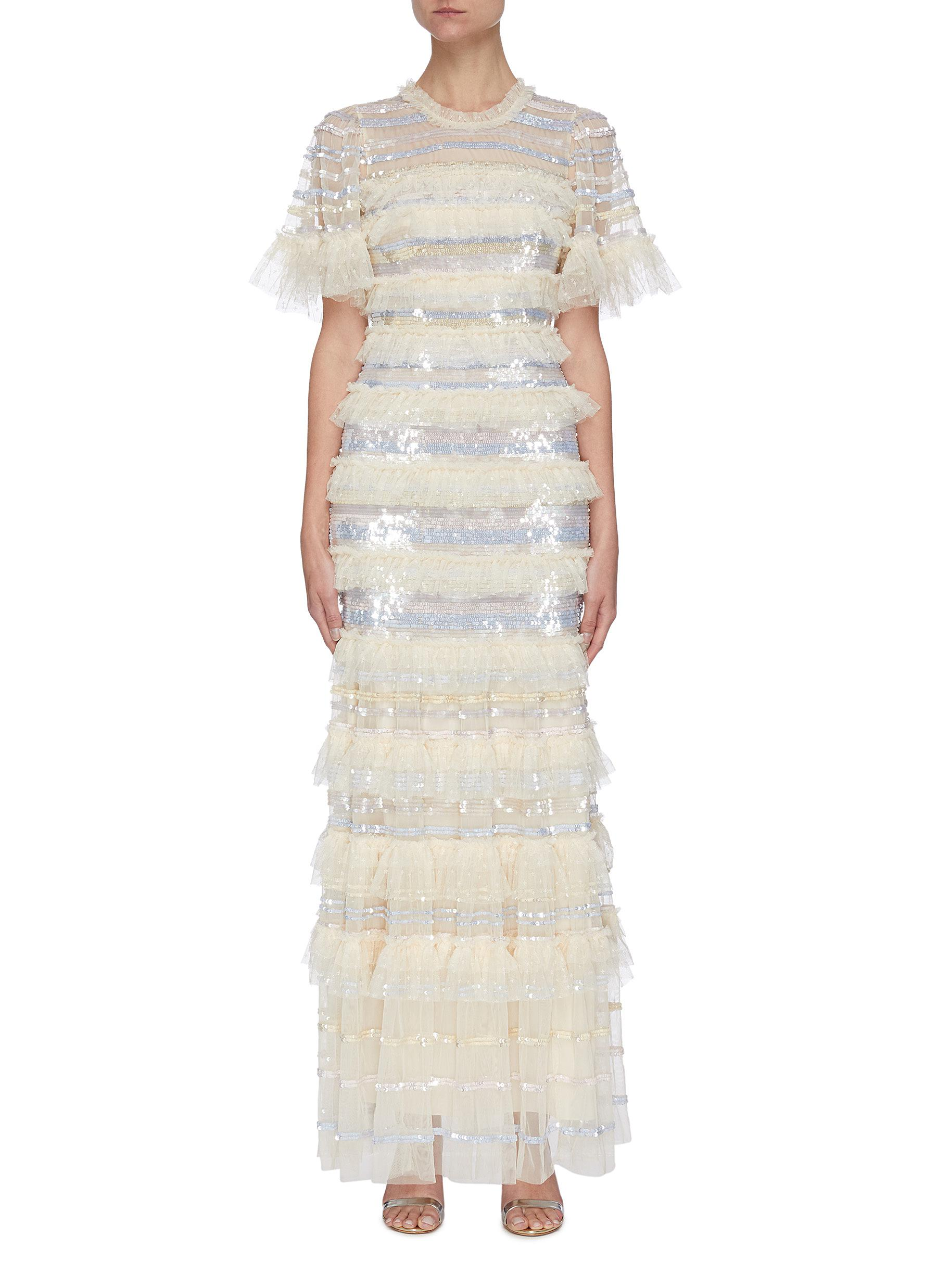 Needle & Thread 'ARIANA' PLEATED CONTRAST PANEL SEQUIN GOWN