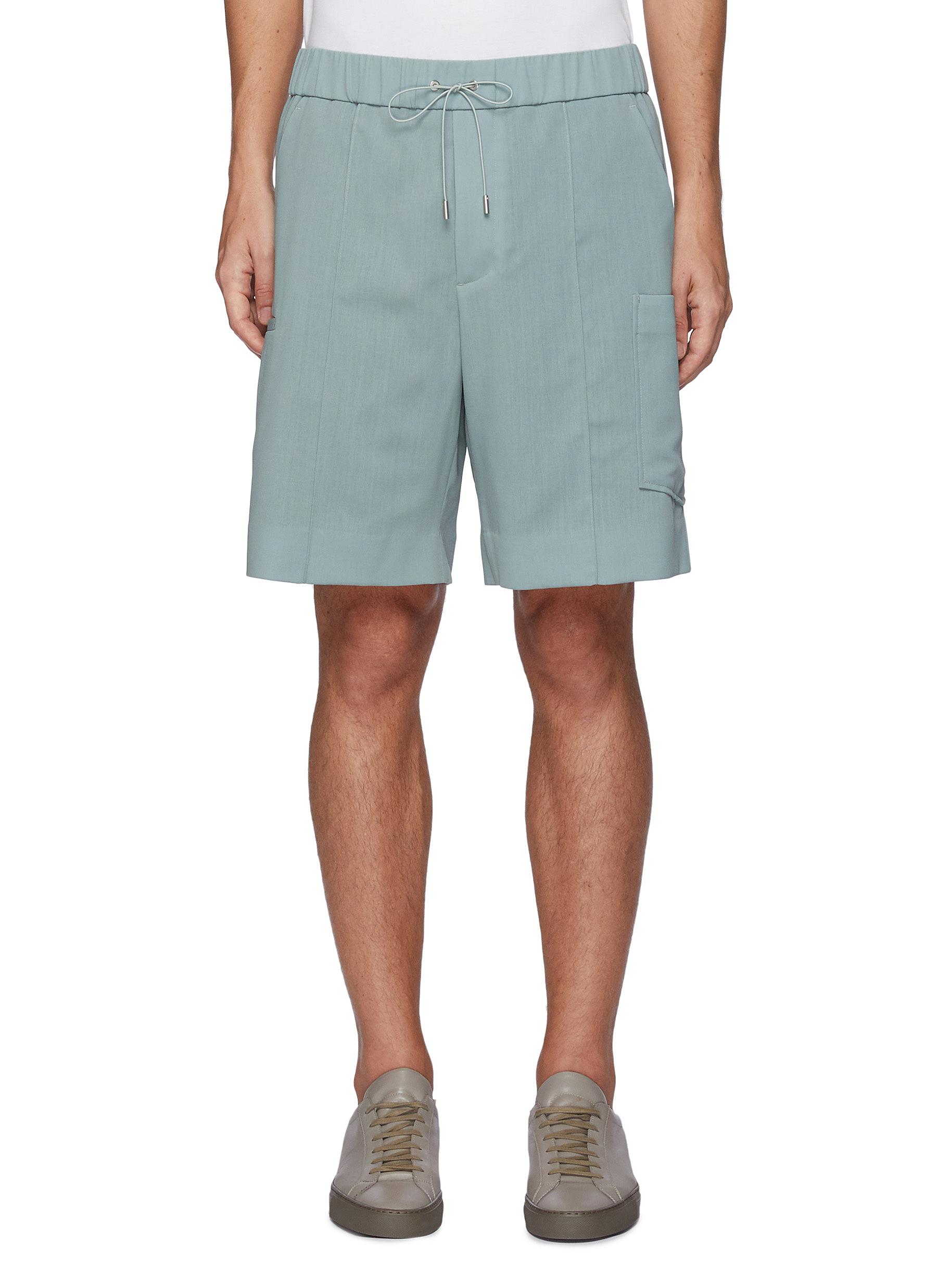 Drawcord waist side pocket wool shorts