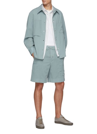 Figure View - Click To Enlarge - EQUIL - Drawcord waist side pocket wool shorts