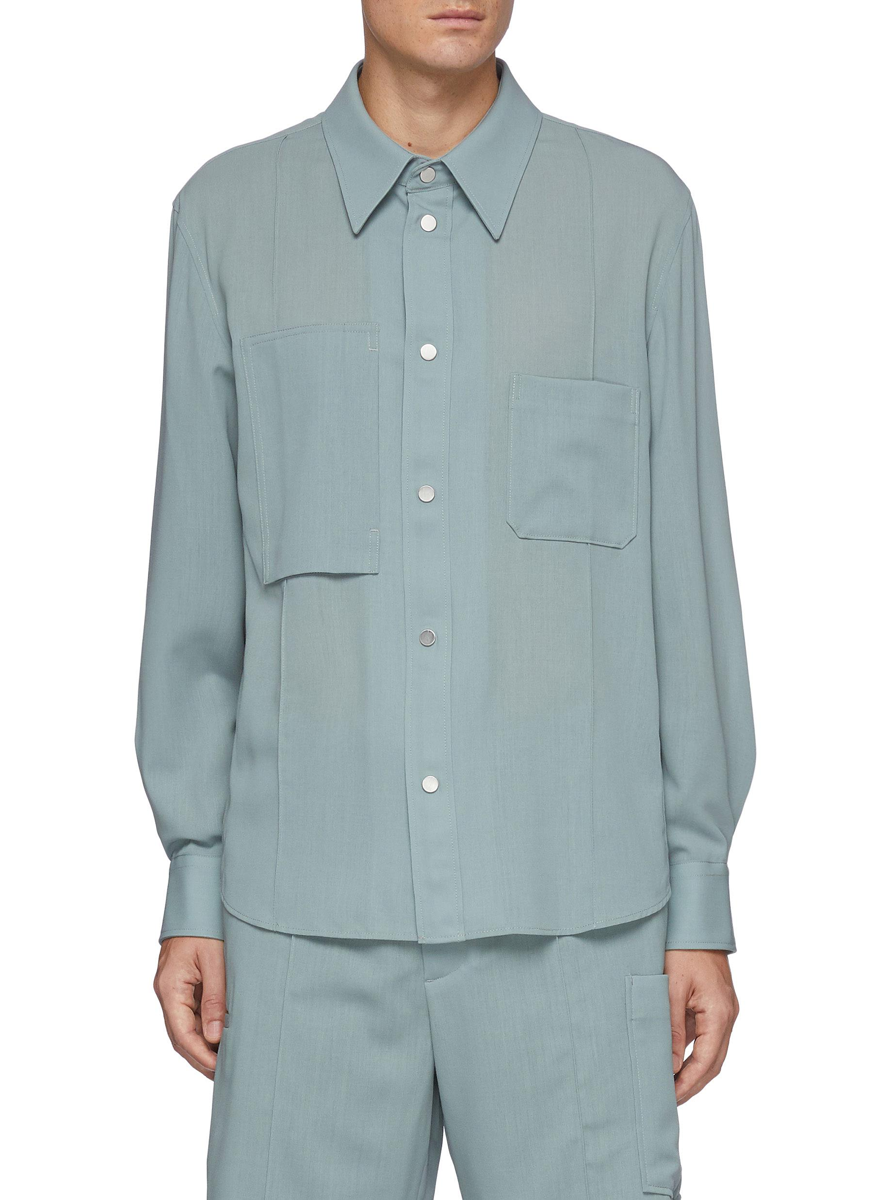 Chest pocket wool shirt jacket