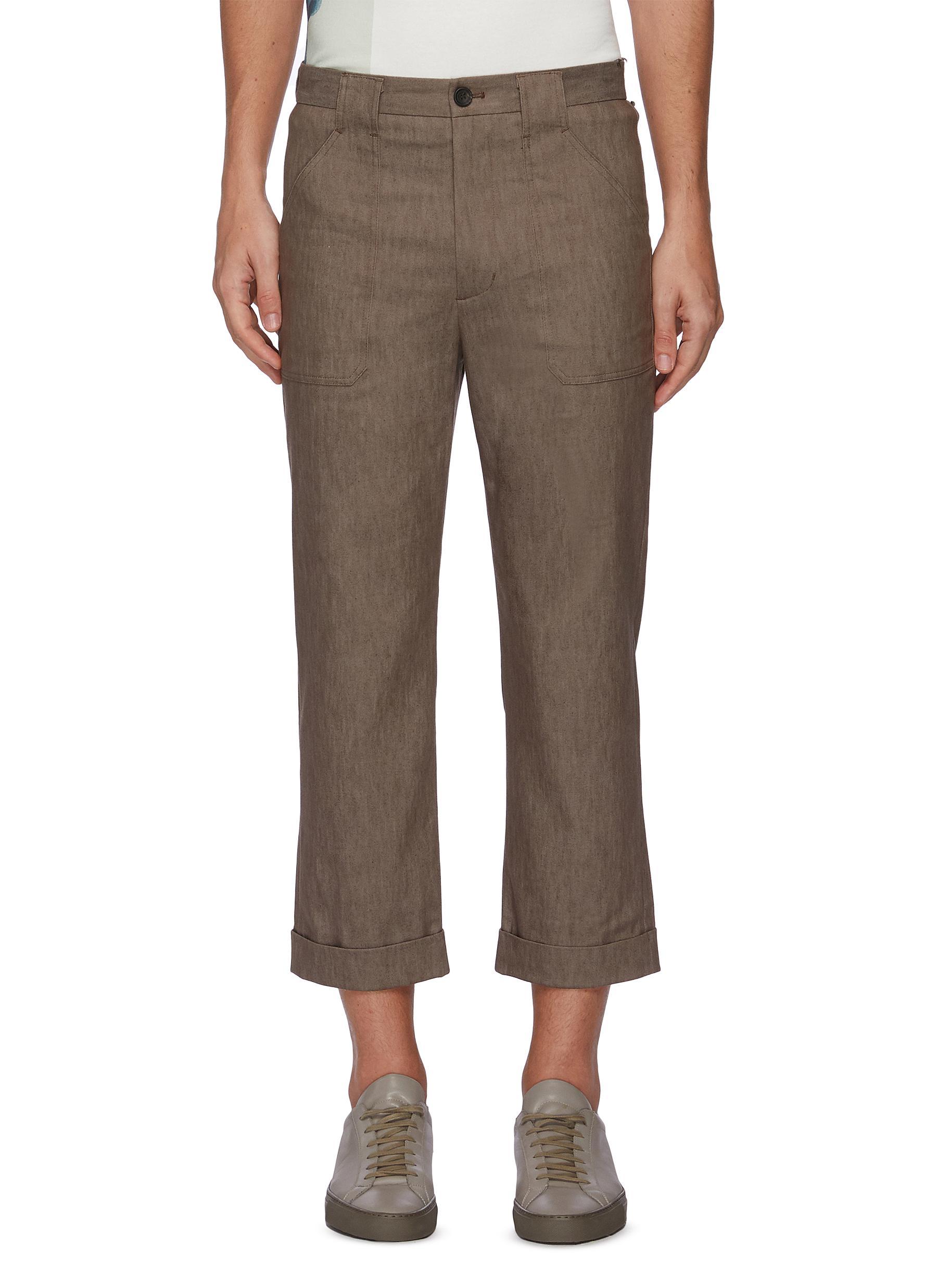 Side pocket crop jeans