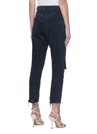 Back View - Click To Enlarge - AGOLDE - 'Riley' Distressed Knee Fray Edge Crop Denim Jeans