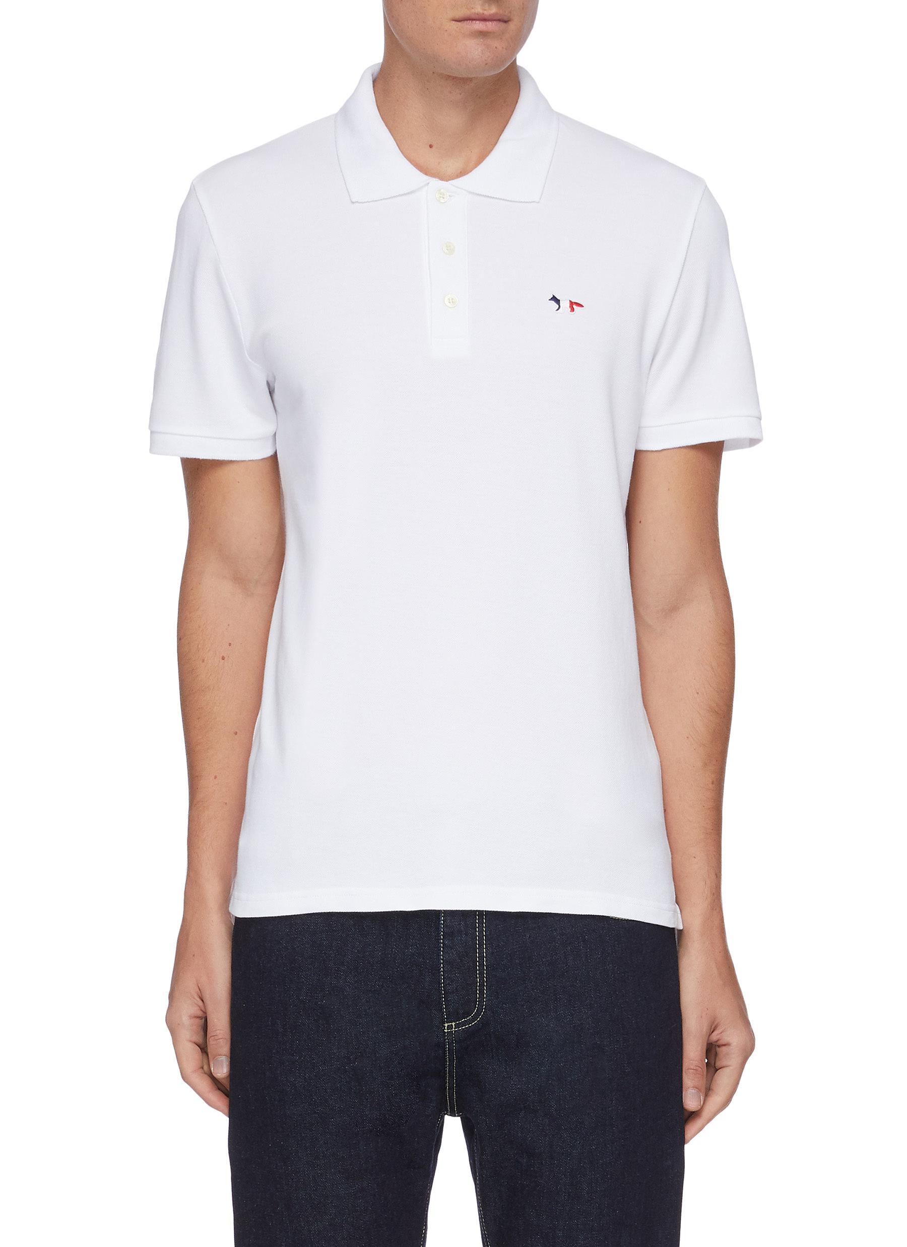 Tricolour Fox Patch Cotton Pique Polo Shirt - MAISON KITSUNÉ - Modalova