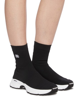 Figure View - Click To Enlarge - BALENCIAGA - 'Speed 3.0' Knit Textile High Top Sneakers