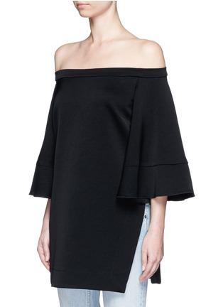 Front View - Click To Enlarge - ELLERY - 'Elize' off-shoulder bell sleeve satin crepe top