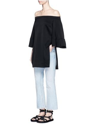 Figure View - Click To Enlarge - ELLERY - 'Elize' off-shoulder bell sleeve satin crepe top