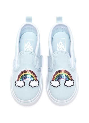 Figure View - Click To Enlarge - VANS - Rainbow patch toddler canvas slip-on shoes