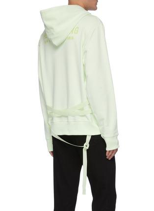 Back View - Click To Enlarge - HELMUT LANG - Back Logo Print Strap Detail Cotton Hoodie