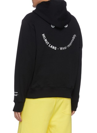 Back View - Click To Enlarge - HELMUT LANG - Slogan Print Cotton Hoodie