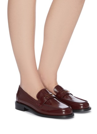 Figure View - Click To Enlarge - PEDDER RED - 'Bay' patent leather loafers