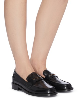 Figure View - Click To Enlarge - PEDDER RED - Bay' patent leather loafers