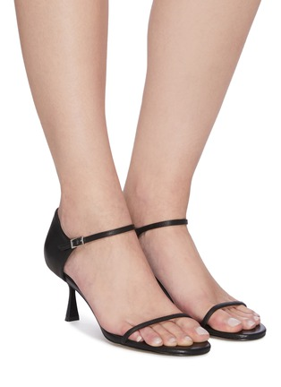 Figure View - Click To Enlarge - PEDDER RED - 'Rumy' single strap open toe leather pumps
