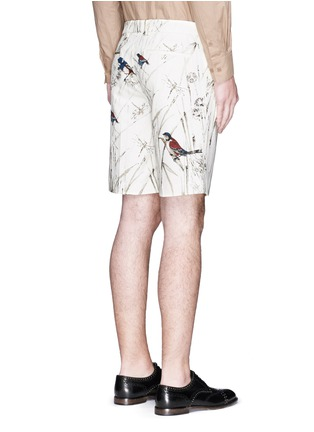 Back View - Click To Enlarge - - - Bird and jute print cavalry twill shorts