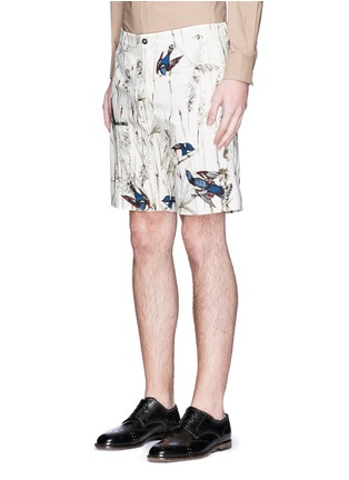 Front View - Click To Enlarge - - - Bird and jute print cavalry twill shorts