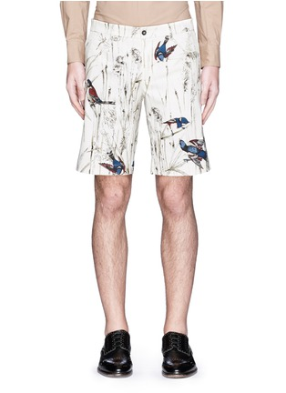 Main View - Click To Enlarge - - - Bird and jute print cavalry twill shorts