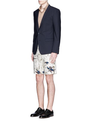 Figure View - Click To Enlarge - - - Bird and jute print cavalry twill shorts
