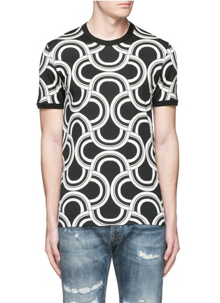 Main View - Click To Enlarge - Dolce & Gabbana - Spiral print cotton T-shirt