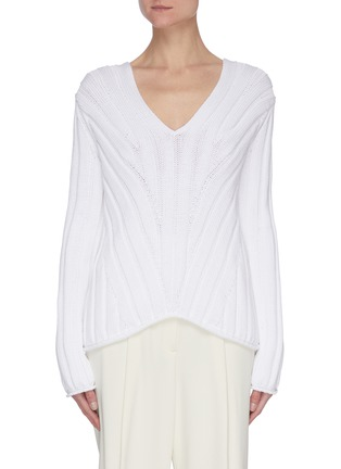 Main View - Click To Enlarge - THEORY - Looped cotton ribbed V-neck sweater