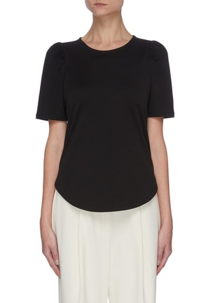 Main View - Click To Enlarge - THEORY - 'Clinton' ruched sleeve knit T-shirt