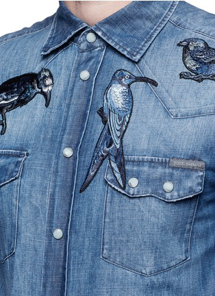 Detail View - Click To Enlarge - Dolce & Gabbana - 'Gold' bird embroidery denim shirt