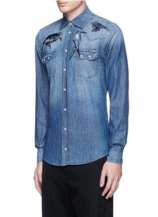 Front View - Click To Enlarge - Dolce & Gabbana - 'Gold' bird embroidery denim shirt
