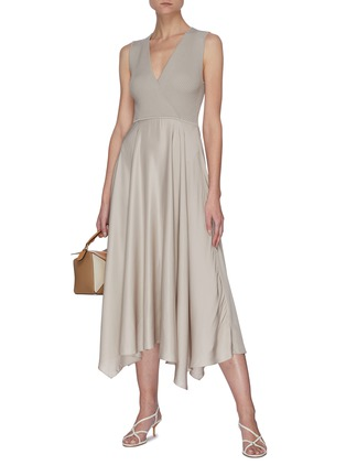 Figure View - Click To Enlarge - THEORY - Ribbed draped dress