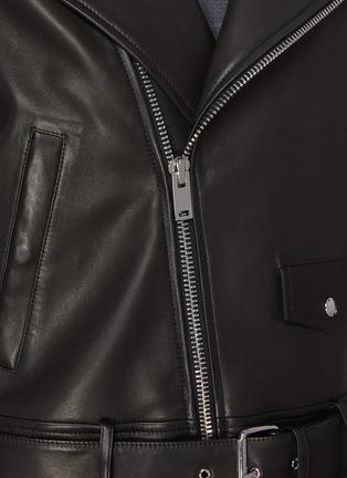 - THEORY - Belt Detail Leather Biker Jacket