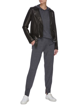 Figure View - Click To Enlarge - THEORY - Belt Detail Leather Biker Jacket