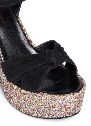 Detail View - Click To Enlarge - SAINT LAURENT - 'Candy' suede bow glitter wedge sandals